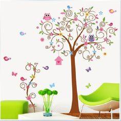 Grande Floresta Animais da árvore da coruja Pássaro Wall Sticker Art Decor Decal Kid Nursery 8.63