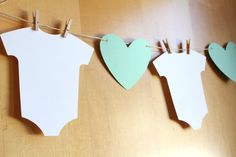 Baby Shower Bunting / Banner / Garland / Heart, Clothesline, Infant Bodysuit