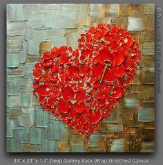 ORIGINELE hedendaagse galerie kunst door Susanna Shap-moderne Paletmes dikke impasto textuur abstracte rood hart en belangrijke schilderij gevuld met bloesem  Deze aanbieding is voor een CUSTOM Made to Order origineel schilderij van een eerder verkocht, gezien in de bovenstaande fotos. Uw schilderij zal het dezelfde grootte en vergelijkbare samenstelling/kleuren.  Be Mine  De beschrijving van de illustratie: -Afmeting: 24 x 24 -1.5diepe galerij terug verpakt uitgerekt doek, zwart geschilderd…