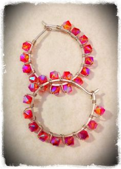 Handmade sterling silver hoop earrings, wire wrapped with pink Swarovski crystals- Meredith Terry Earrings