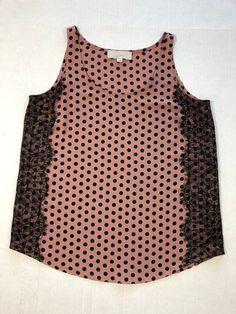 c23f98d5 Ann Taylor Loft Women's Sleeveless Pink Polka Dot Black Lace Blouse Top M  1000 #AnnTaylorLOFT