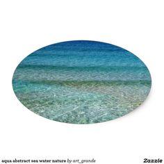 aqua abstract sea water nature oval sticker