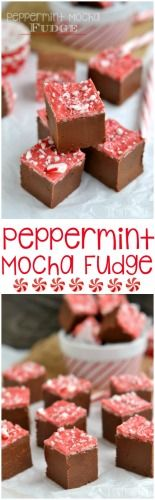 This Peppermint Mocha Fudge is just BEGGING to be served up at your holiday celebration! Perfectly festive and easy too! // Mom On Timeout