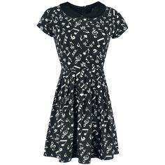 Notes Dress - Korte jurk van Full Volume by EMP muziek noten zwart wit dress music notes black white