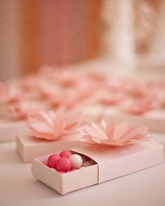 Water Lily favor boxes from the Martha Stewart Crafts Line filled with gumballs