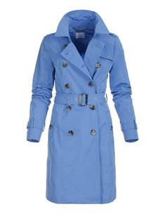 Kurztrench in Doppelreiher-Form | MADELEINE Mode Österreich Short Trench Coat, Double Breasted Trench Coat, Mantel Trenchcoat, Blue Coats, Trends, Belt Tying, Polyvore, Form, Tie
