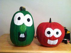 Veggie tales pumpkins, my son's favorite show Veggie Tales Birthday, Veggie Tales Party, Holidays Halloween, Halloween Crafts, Happy Halloween, 2nd Birthday, Birthday Ideas, Birthday Parties, Fall Harvest Party