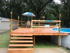 We have above ground pool with aluminum support and deck with plywood  sides. The pool is at least 25