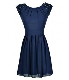 Blue Chiffon Dress with flower applique on shoulders
