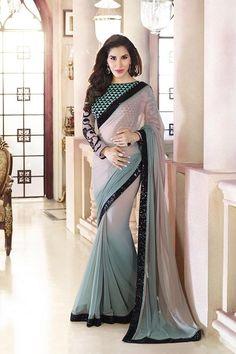 Beautiful and elegant Chiffon saree -www.cooliyo.com