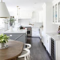 White Kitchen with Gray Island and Dark Oak Wood Floors