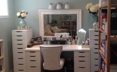 Ikea Makeup Vanity Ideas - omg I love all this storage!