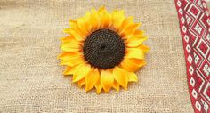 Sunflower brooch sunflower pendant necklace polymer clay jewelry gift for her bridesmaid jewelry wedding jewelry rustic style floral jewelry