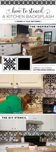 Cutting Edge Stencils shares a DIY kitchen makeover with a stenciled backsplash using the Fabiola Tile pattern. http://www.cuttingedgestencils.com/fabiola-tile-stencil-spanish-portugese-tiles-stencils.html
