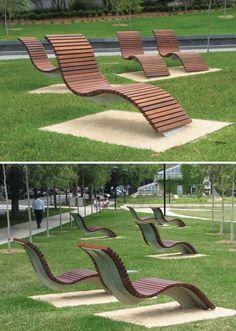 """Des fauteuils courbes sur mesure dans le Cadigal Green de l""""Universite de Sydney en Australie"""