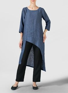 Blue Gray Linen Asymmetrical Tunic Fluttery, romantic and displaying the refined tailoring of VIVID Linen. Cascading detail for graceful movement with each step.