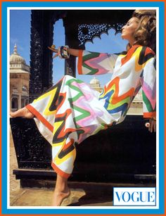 samantha-jones-in-caftan-inspired-dress-in-colorful-hand-printed-zigzag-by-livio-de-simone-rings-and-bracelets-by-tiziani-photographed-by-henry-clarke-in-udaipur-india-vogue-1967 FINA rev L