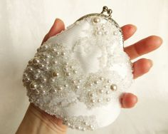 Beaded white Coin purse wedding accessory in retro style by LoveThirties