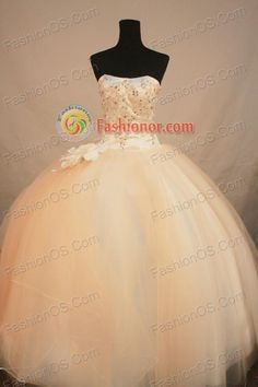 Fashionable Ball Gown Strapless Floor-length Champange Organza Beading Quinceanera Dress Style FA-L-192