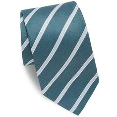 Eton Striped Linen & Silk Tie (6.370 RUB) ❤ liked on Polyvore featuring men's fashion, men's accessories, men's neckwear, ties, mens ties, mens linen ties, mens silk ties, mens green tie and mens striped ties
