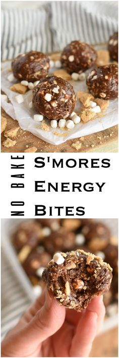 No Bake S'mores Energy Bites- healhy, made with honey, peanut butter, oats, and cocoa. No protein powders. Make ahead snack or dessert. No bake.