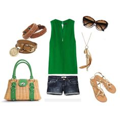 Casual Summer- green and brown