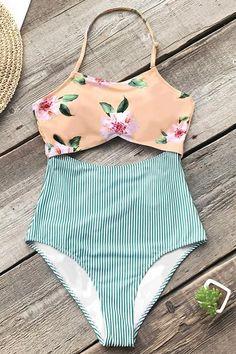 Pink Floral And Green Striped One-piece Swimsuit – Cupshe Bandeau Bikini, Frill Bikini, Bikini Swimwear, Summer Bathing Suits, Cute Bathing Suits, Summer Suits, Trendy Swimwear, Cute Swimsuits, Wonder Woman Cosplay