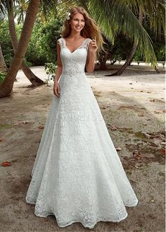 Robe de mariée jardin/en plein air naturel décoration dentelle col en v - photo 1