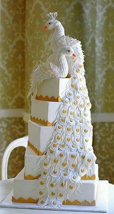 White and Gold Peacock wedding cake Extravagant Wedding Cakes, Creative Wedding Cakes, Amazing Wedding Cakes, Elegant Wedding Cakes, Unique Wedding Cakes, Wedding Cake Designs, Amazing Cakes, Beautiful Cakes, Romantic Weddings