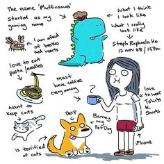 Me. #meettheartist and I'm going to tag @paintinks_by_melt @xinli29288 to do it too! #muffinsaurs #spaghetti #pasta #noodles #doodle #doodleoftheday #corgi #coffee