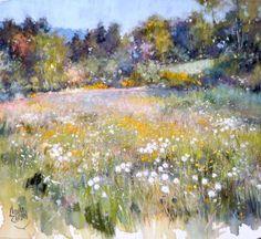 """Claude Carvin """"les beaux jours"""" pastel sec 50x50cm sur pastelmat"""