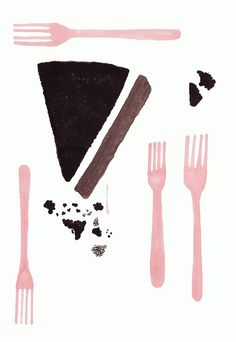 Grace Lee, cake, food, drawing, fork, party, birthday, design, painting, crumbs, cooking, illustration