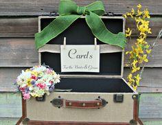 Wedding Card Box - Vintage Style, Rustic, Wedding Decor, Luggage Card Holder,Program Holder,  Wishes Box, or Decorative Centerpiece - Large. $65.00, via Etsy.