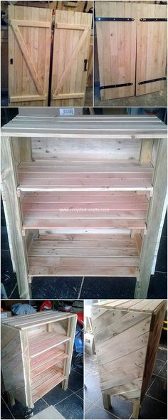 Clever Ways to Reuse Old Shipping Wood Pallets: As we do start off talking about the different ways of reusing the old shipping wood pallets, then there are so many ideas and designing concepts. Free Pallets, Recycled Pallets, Wooden Pallets, Recycled Crafts, Wood Pallet Tables, Pallet Desk, Pallet Cabinet, Recycled Furniture, Pallet Furniture