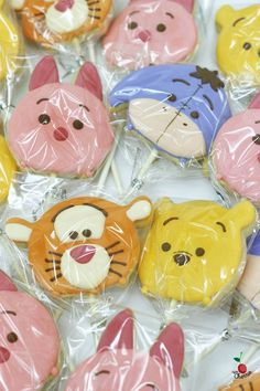 Winnie the Pooh, Piglet, Tigger, and Eeyore Tsum Tsum Icing Cookie Pops