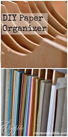 How to make a craft paper storage organizer to fit into a cubbie style storage unitDIY Paper Organizer. How to make a craft paper storage organizer to fit into a cubbie style storage unit Scrapbook Paper Organization, Scrapbook Storage, Craft Organization, Diy Organizer, Scrapbook Rooms, Scrapbooking Ideas, Sticker Organization, Storage Organizers, Organizing Life