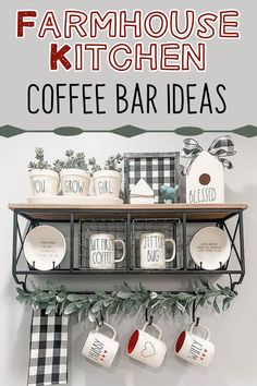 Farmhouse Kitchen / Coffee Bar Ideas bar ideas kitchen modern Farmhouse Coffee Station Ideas - Farm Style Coffee Bar Ideas & Pictures For Your Home Coffee Bars In Kitchen, Coffee Bar Home, Home Coffee Stations, Country Farmhouse Decor, Farmhouse Style Kitchen, Farmhouse Style Decorating, Modern Farmhouse, Kitchen Modern, Farmhouse Ideas