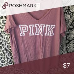 Victoria's Secret pink t shirt Super soft pink t shirt v neck PINK Victoria's Secret Tops Tees - Short Sleeve