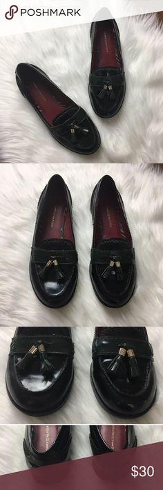 f6299071ff68f0 Tommy Hilfiger Salt Tassel Loafer Black Green 7 M Tommy Hilfiger women s  vegan patent leather Salt