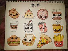 how to draw kawaii App Drawings, Emoji Drawings, Cute Food Drawings, Cute Disney Drawings, Cute Little Drawings, Cute Kawaii Drawings, Cool Art Drawings, Doodle Drawings, Doodle Art