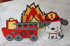 3 Piece Handmade Fire Truck Party Centerpiece Decoration Set - Red Fire Truck/Engine, Dalmatian Dog, Fire Flames - First Birthday - Fireman