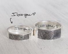 Set of 2 Personalized Fingerprint Rings - Actual Fingerprint and Handwriting Rings - Promise Rings FR08FM