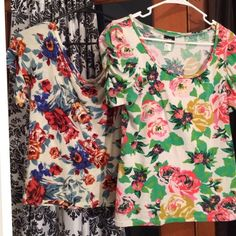 2 Floral tops by H&M C&S off shoulder crop tops M This is for two (2) tops, both beautiful spring summer florals: TOP 1) Ivory background by C&S Check & Stripe, colors; blue with rusty red amazing flowers, off shoulder and kinda cropped. Has a tiny pin dot hole at the crop bottom hem. You can't see it unless you stare at it closely.   TOP 2) by H&M, beautiful greens and mix of colors, the sleeves are ruched.  Very nice tops used for summer 2015, both re size M- true to size,both are stretchy…
