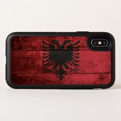 Albania Flag on Old Wood Grain OtterBox Symmetry iPhone X Case - wood gifts ideas diy cyo natural