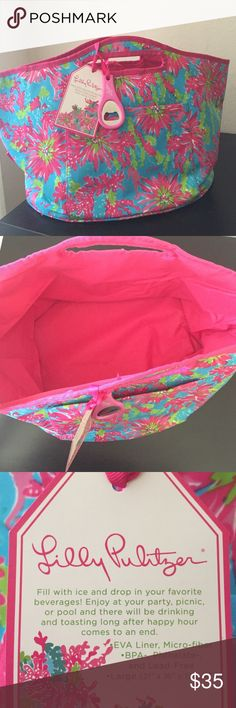 Lilly Pulitzer Insulated Beverage Bucket New with tags. Bottle opener included. Lilly Pulitzer Bags