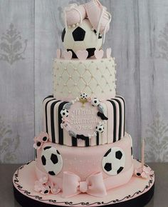 Alicia's party 💞 Soccer Birthday Cakes, Soccer Cake, Soccer Theme, Soccer Party, First Birthday Cakes, Birthday Cake Girls, Sports Party, Baby Shower Cakes, Baby Girl Shower Themes