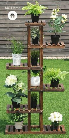 Garden Shelves, Plant Shelves, Display Shelves, Unique Shelves, Wood Shelves, House Plants Decor, Plant Decor, Plantas Indoor, Tiered Garden