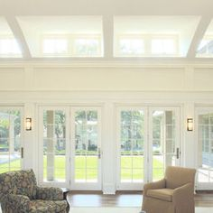 Idea for my extension ceiling line, with French doors of course! Shed Windows, Dormer Windows, Cool Rooms, Great Rooms, Skylight Window, Window Wall, Shed Dormer, Enclosed Patio, Virginia Homes