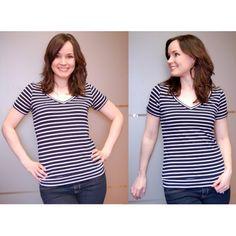 Renfrew Top Schnittmuster von Sewaholic Patterns. Toller T-Shirt Basisschnitt. V-neck -V-Ausschnitt shirt