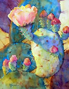 Watercolor painting_ SPRING BEAUTY_ Mary Shepard original_Texas prickly pear cactus with spring blooms_ painted on 14 x 10 Arches watercolor paper. www.maryshepard.com